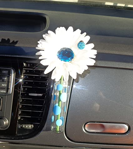 Amazon Vw Beetle Flower White And Light Blue Bling Daisy With