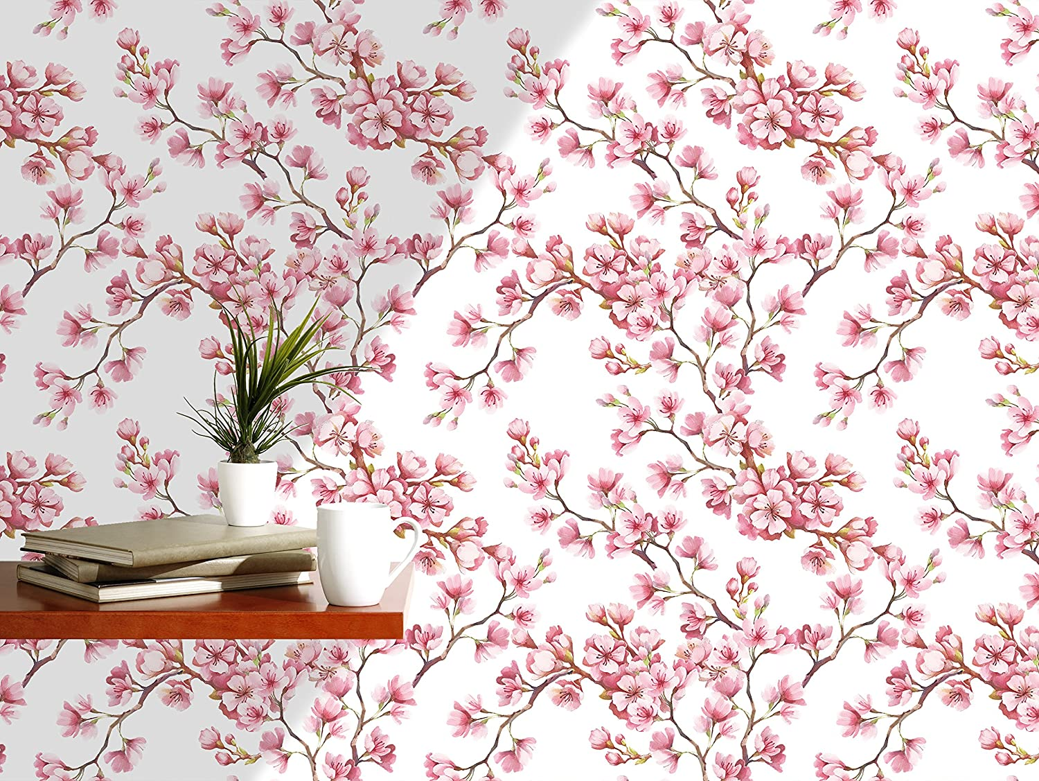 Amazon Com Watercolor Cherry Blossoms Self Adhesive Removable