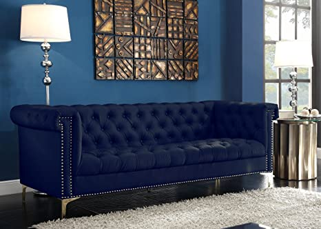 Magnificent Iconic Home Gold Navy Blue Winston Pu Button Tufted With Nail Head Trim Tone Metal Sofa Creativecarmelina Interior Chair Design Creativecarmelinacom
