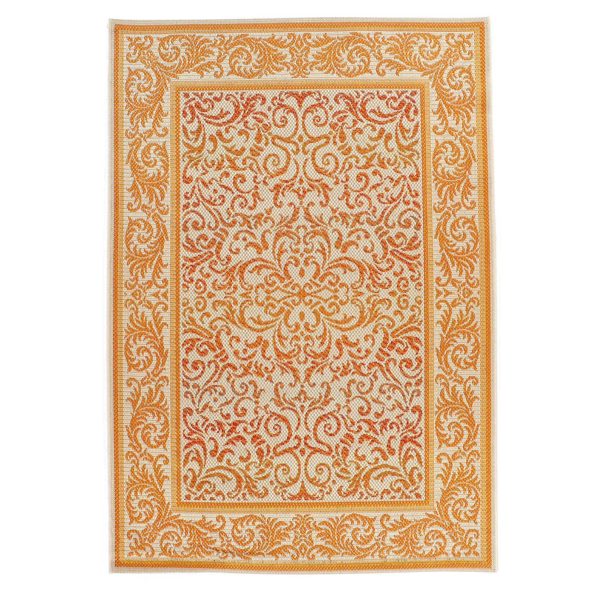 Carpet Art Deco Bellaire Collection Indoor Outdoor Rug, 5'3'' x7'5, Orange/Beige