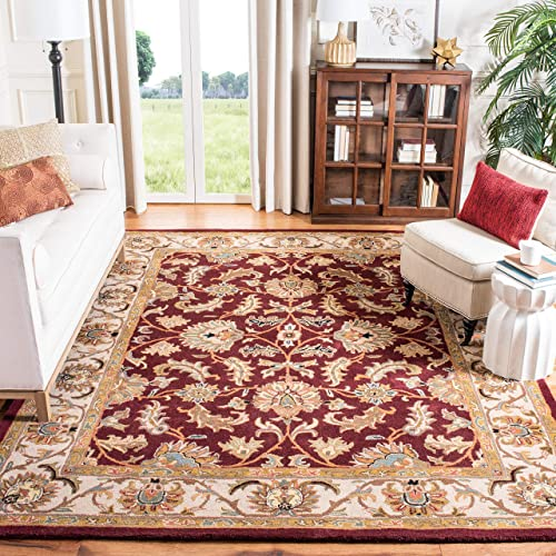Safavieh Heritage Collection HG628D Handcrafted Traditional Oriental Red and Ivory Wool Area Rug 8 x 10