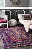nuLOOM Hand Braided Bohemian Colorful Cotton Area