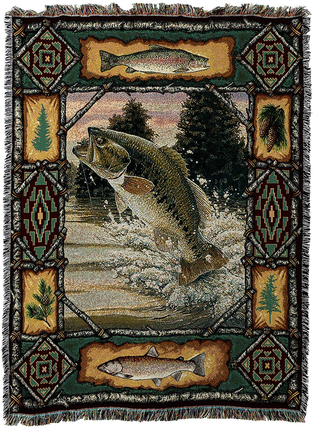 Pure Country Weavers - Fish Bass Lodge Cabin Hunting Decor Woven Tapestry Throw Blanket with Fringe Cotton USA 72x54