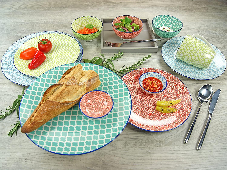 Salat-//Suppenteller 21 cm 4er Set Steinzeug Creatable 21165 Mediterran Gr/ün