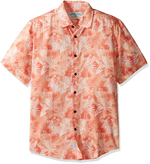 ebd76b89e672de Margaritaville Men s Short Sleeve Printed 100% Lightweight Cotton Dobby  Shirt