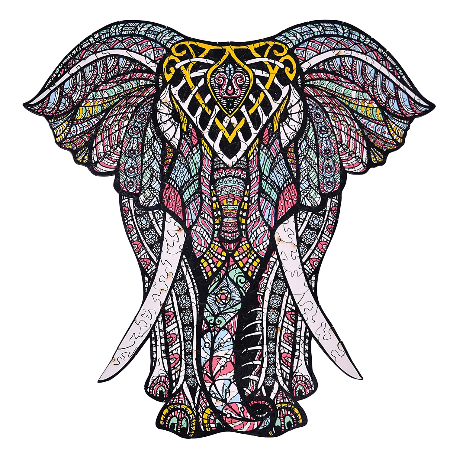 hartmaze Wooden Jigsaw Puzzles – Decorative Elephant HM-06 Small Size Puzzle 171 Unique Shape Jigsaw Pieces-Beautiful Animal for Adults and Kids- Best for Family Game Play Collection.
