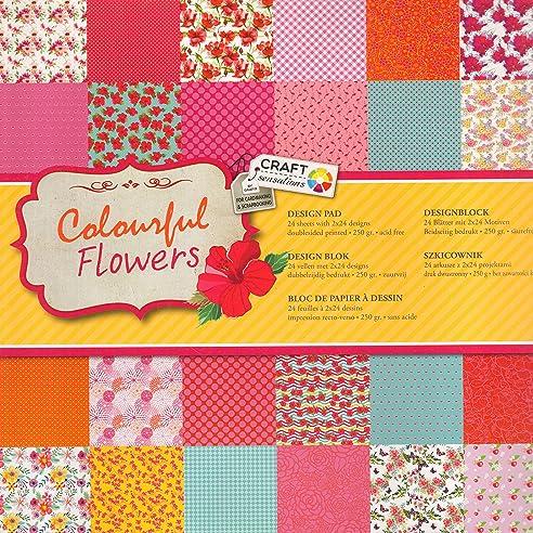 Bastelpapier Vintage scrapbooking papier vintage motivblock 02 colourful flowers