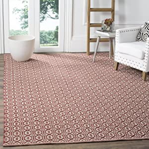 Safavieh Montauk Collection MTK333C Handmade Flatweave Ivory and Red Cotton Area Rug (6' x 9')