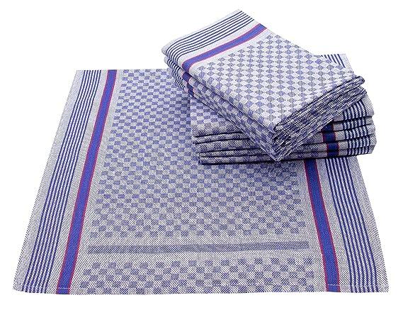 ZOLLNER 10 Trapos de Cocina Grandes, 100% algodón, 45x90 cm, a Cuadros Azules: Amazon.es: Hogar