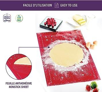 Mastrad F Feuille à PâtisserieGrande X CmRougeSilicone - Carrelage cuisine et tapis silicone macarons