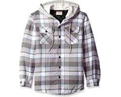 Wrangler Men's Authentics Long Sleeve Quilted Lined Flannel Shirt Jacket, Cloud Burst with Gray Hood, L