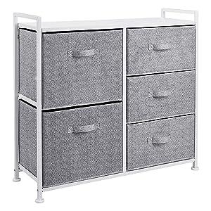 AmazonBasics Fabric 5-Drawer Storage Organizer Unit for Closet, White