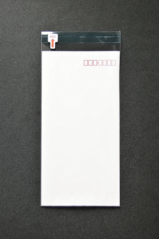 印刷透明封筒 長3 【5,000枚】 OPP 50μ(0.05mm) 表 白ベタ 切手/筆記可 郵便 赤枠付き 静電気防止処理テープ付き 折線付き 横120×縦235+フタ30mm