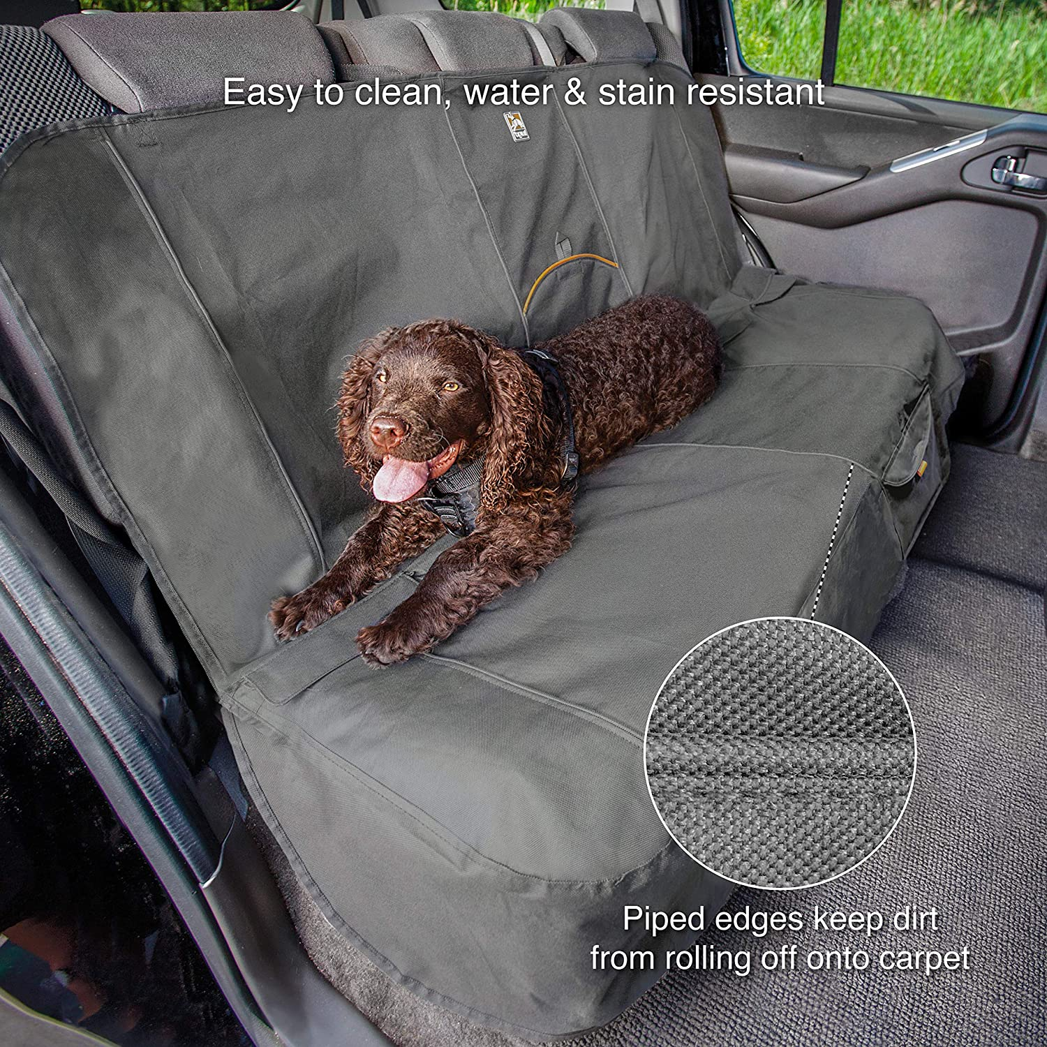 Luxury Dog Cat Pet Car Back Seat Cover Quilted Water Resistant Darker Khaki NEW