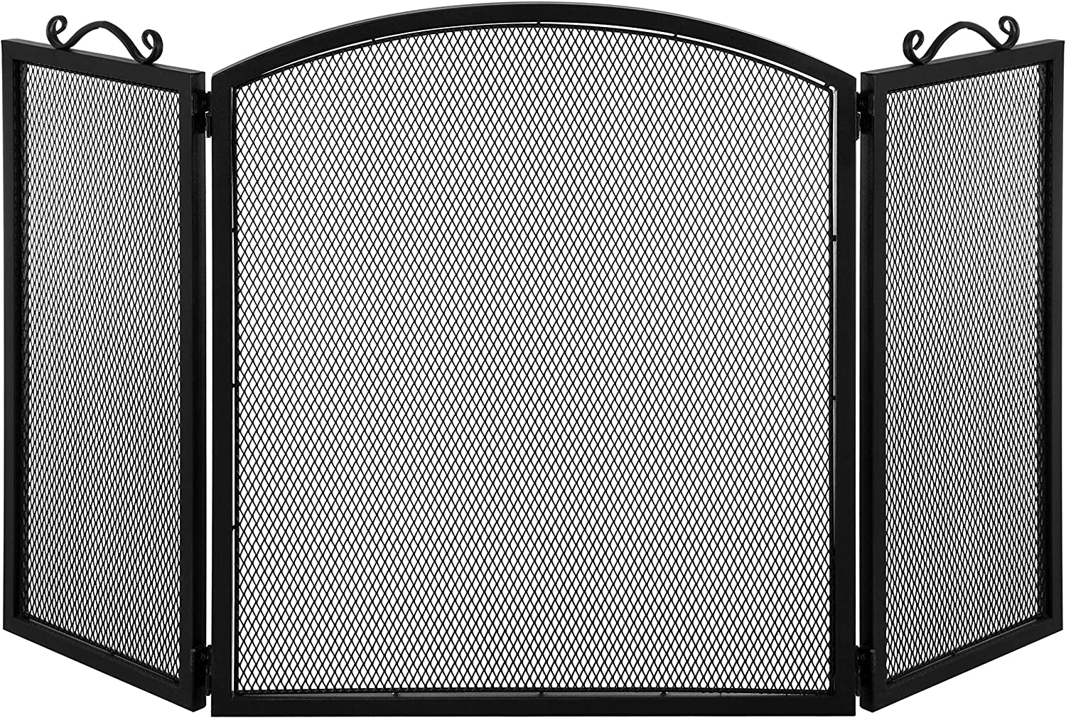 MyGift Classic 3-Panel Black Metal Mesh Fireplace Screen with Vintage Scrollwork Handles/Freestanding Modern Living Room Decor
