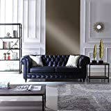 Classic Scroll Arm Real Italian Leather Chesterfield Sofa (Black)