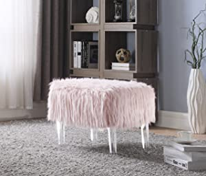 Iconic Home FiorinoModern Contemporary Faux Fur Acrylic Leg Ottoman, Pink
