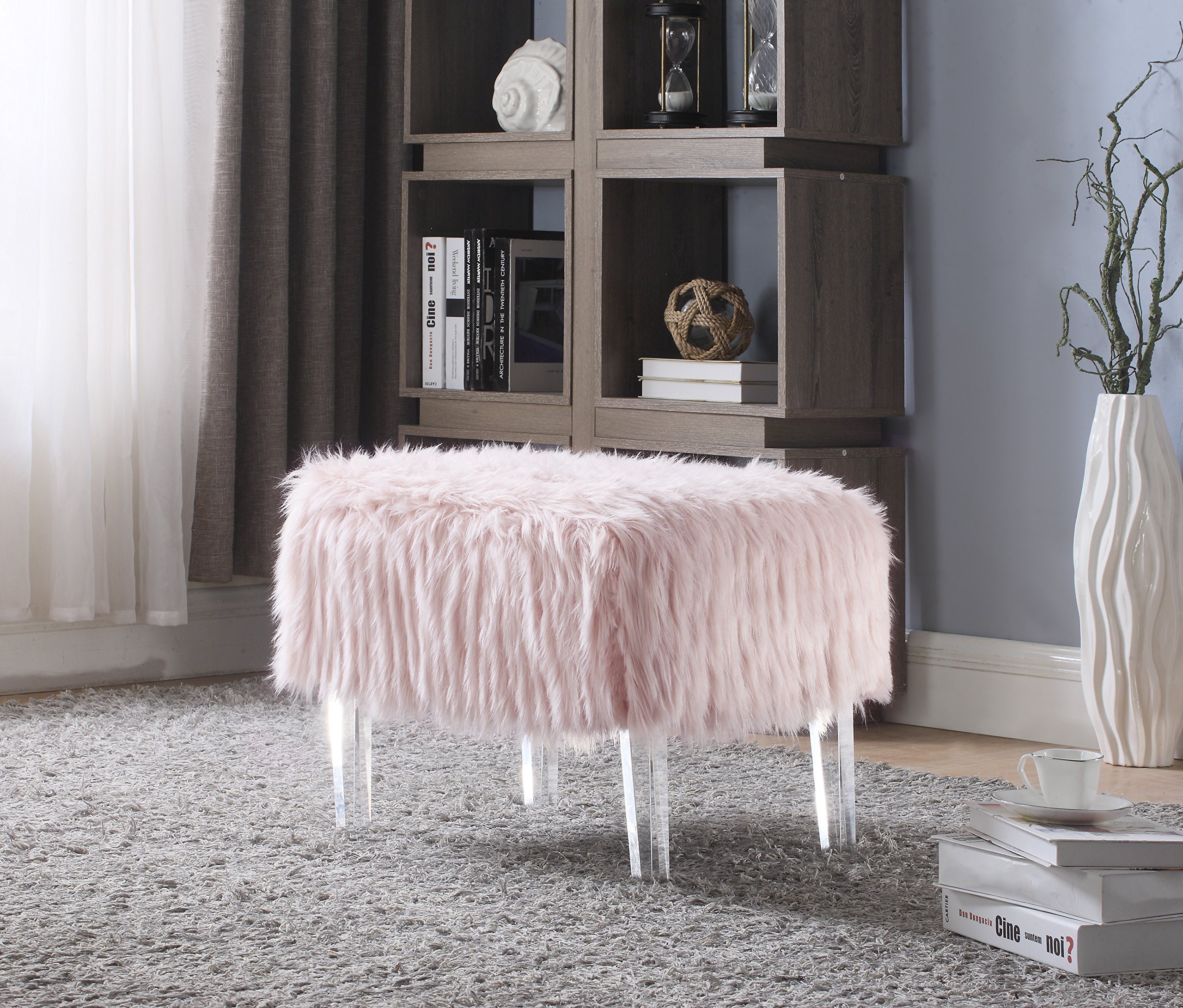 Iconic Home FiorinoModern Contemporary Faux Fur Acrylic Leg Ottoman, Pink by Iconic Home