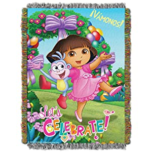 "Nickelodeon's Dora the Explorer, ""Celebrate Dora"" Woven Tapestry Throw Blanket, 48"" x 60"", Multi Color"