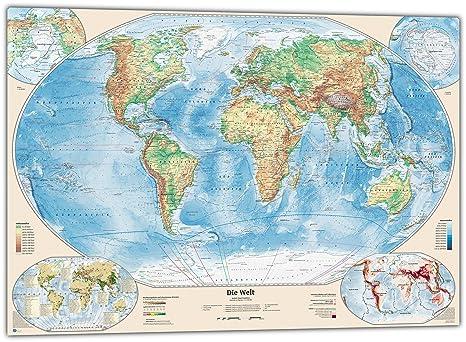 Physische Weltkarte Mit 4 Nebenkarten 100x70 Cm Deutsch Amazon