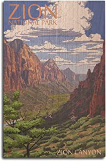 product image for Lantern Press Zion National Park, Utah - Zion Canyon View (10x15 Wood Wall Sign, Wall Decor Ready to Hang)