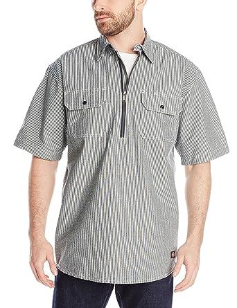 567ade9d00 Dickies - Mens Short Sleeve Half Zip Logger Shirt, Small, Hickory Stripe:  Amazon.co.uk: Clothing