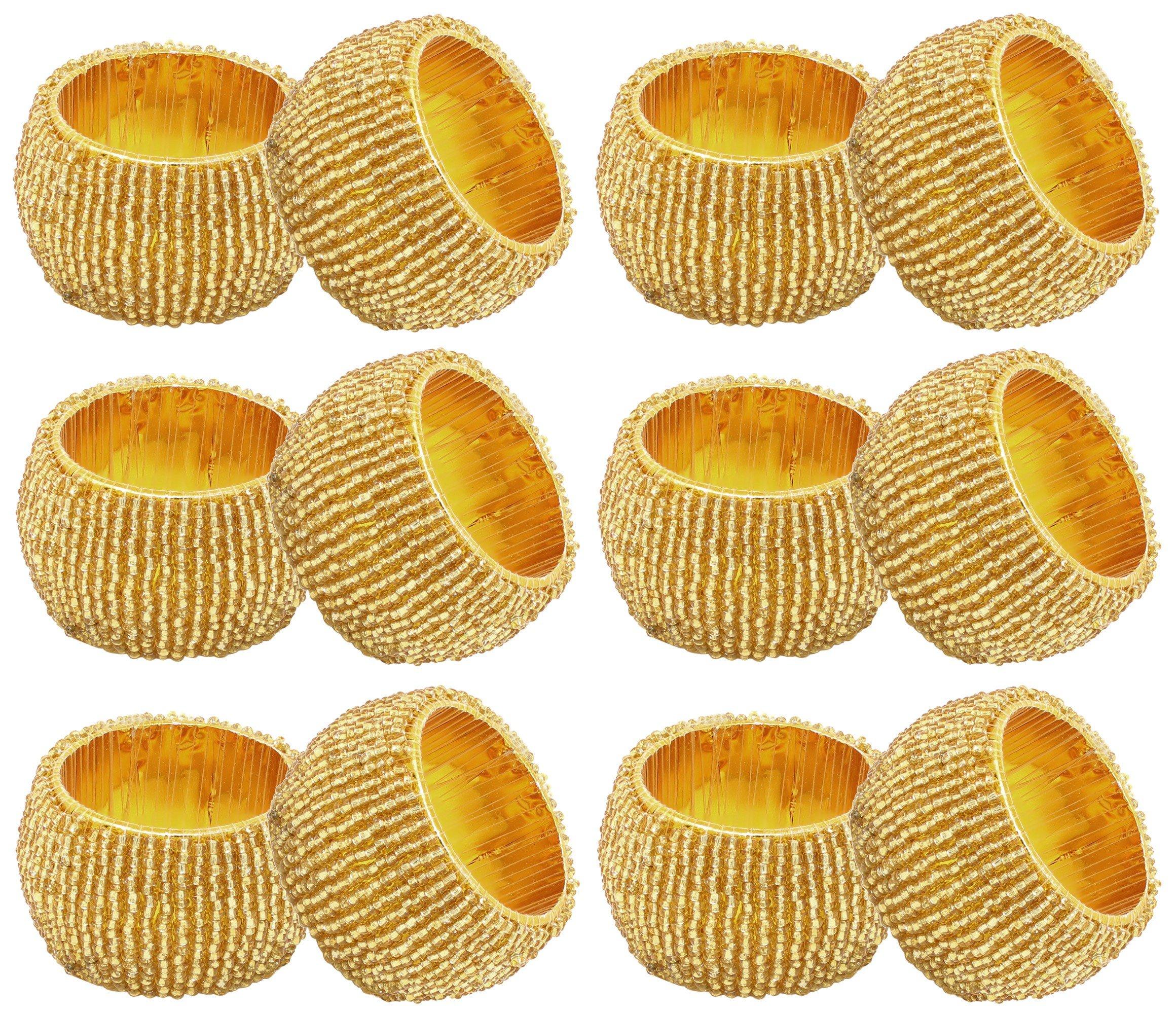 SKAVIJ Gold Napkin Rings Set of 12 Round Beaded Napkin Holder for Weddings Dinner Parties or Every Day Use