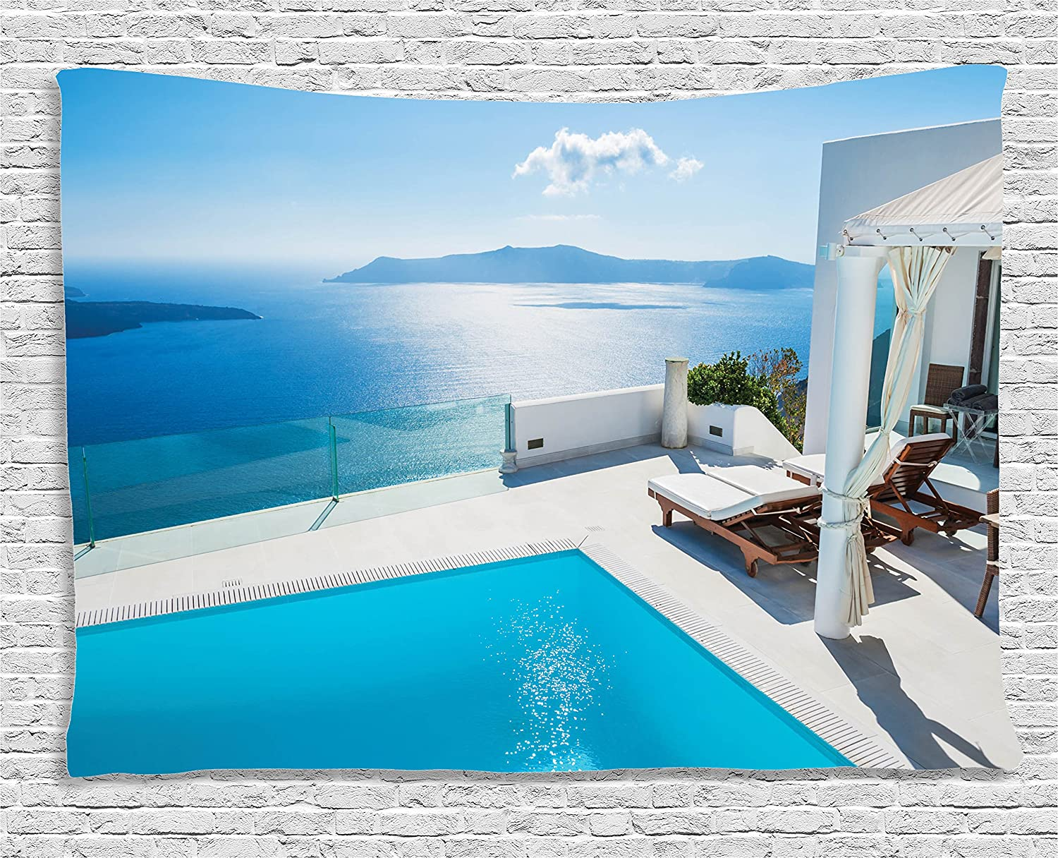 Ambesonne House Decor Collection, Architecture On Santorini Island, Greece.  Swimming Pool blue white Hotel Sea View, Bedroom Living Room Dorm Wall ...