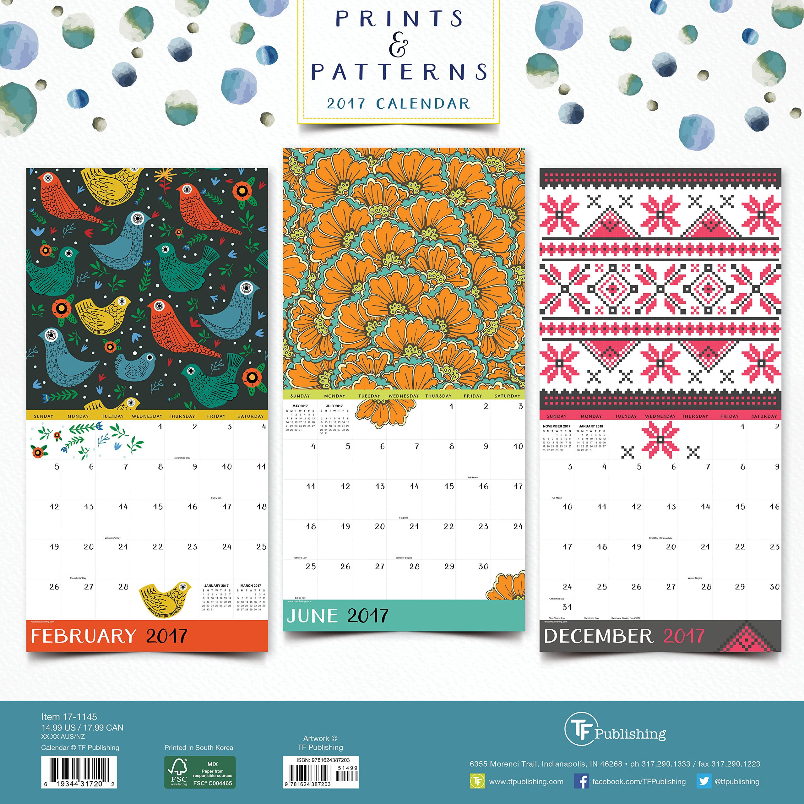 2017 Prints and Patterns Wall Calendar TF Publishing