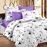 Story@Home 100% Cotton Double Bedsheet With 2 Pillow Covers Combo Set, Mercerized Finish - Metro Series, 186 TC, Floral (Purple and White)