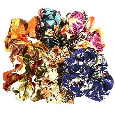 Set of 6 Capelli Accessori Donne Ragazze Raso Fiore Modello Elastico  Cravatte scrunchies Per capelli  Amazon.it  Gioielli 2415c3587b47