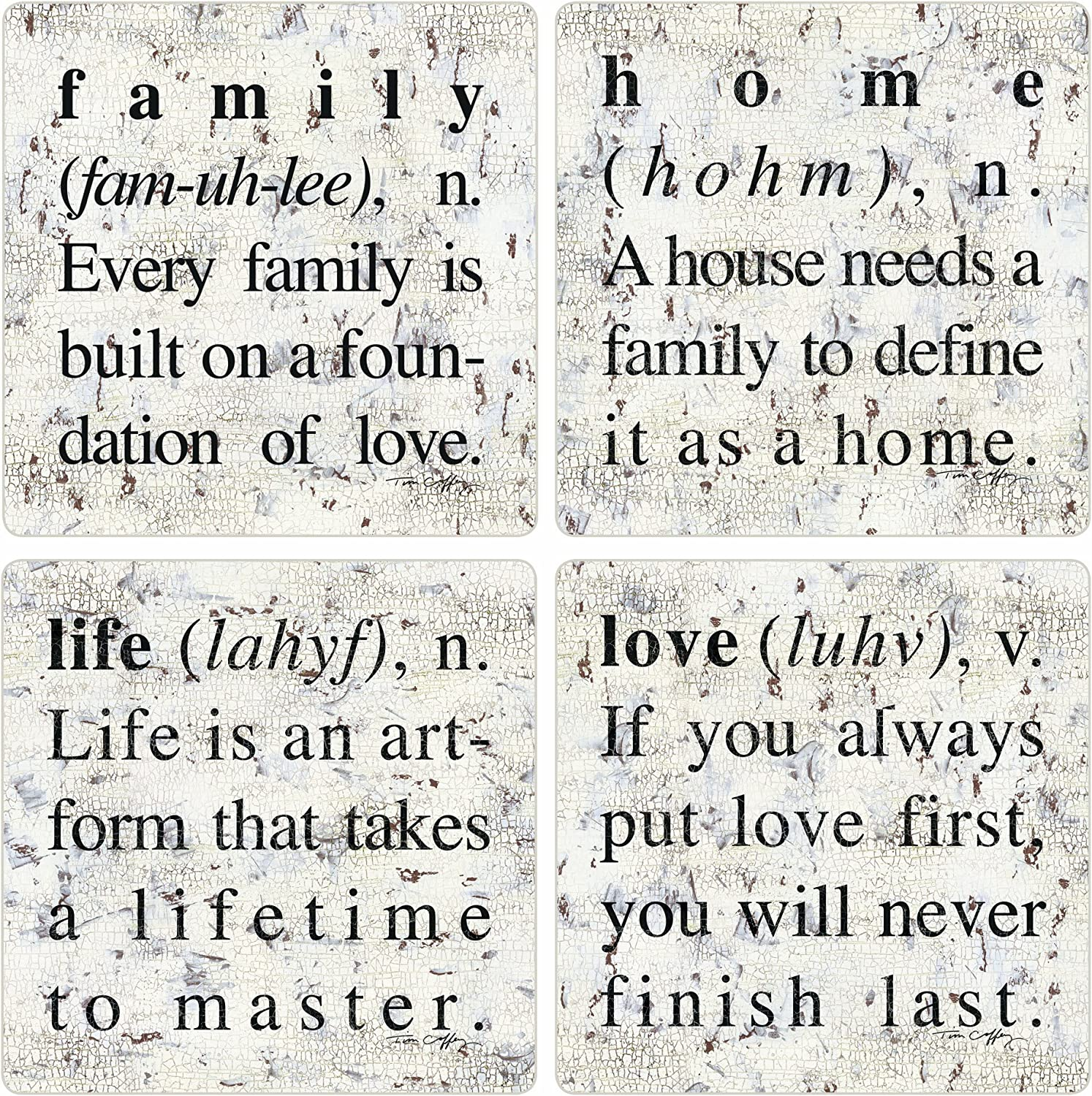 """CoasterStone Absorbent Coasters, 4-1/4-Inch, """"Defining Life"""", Set of 4"""