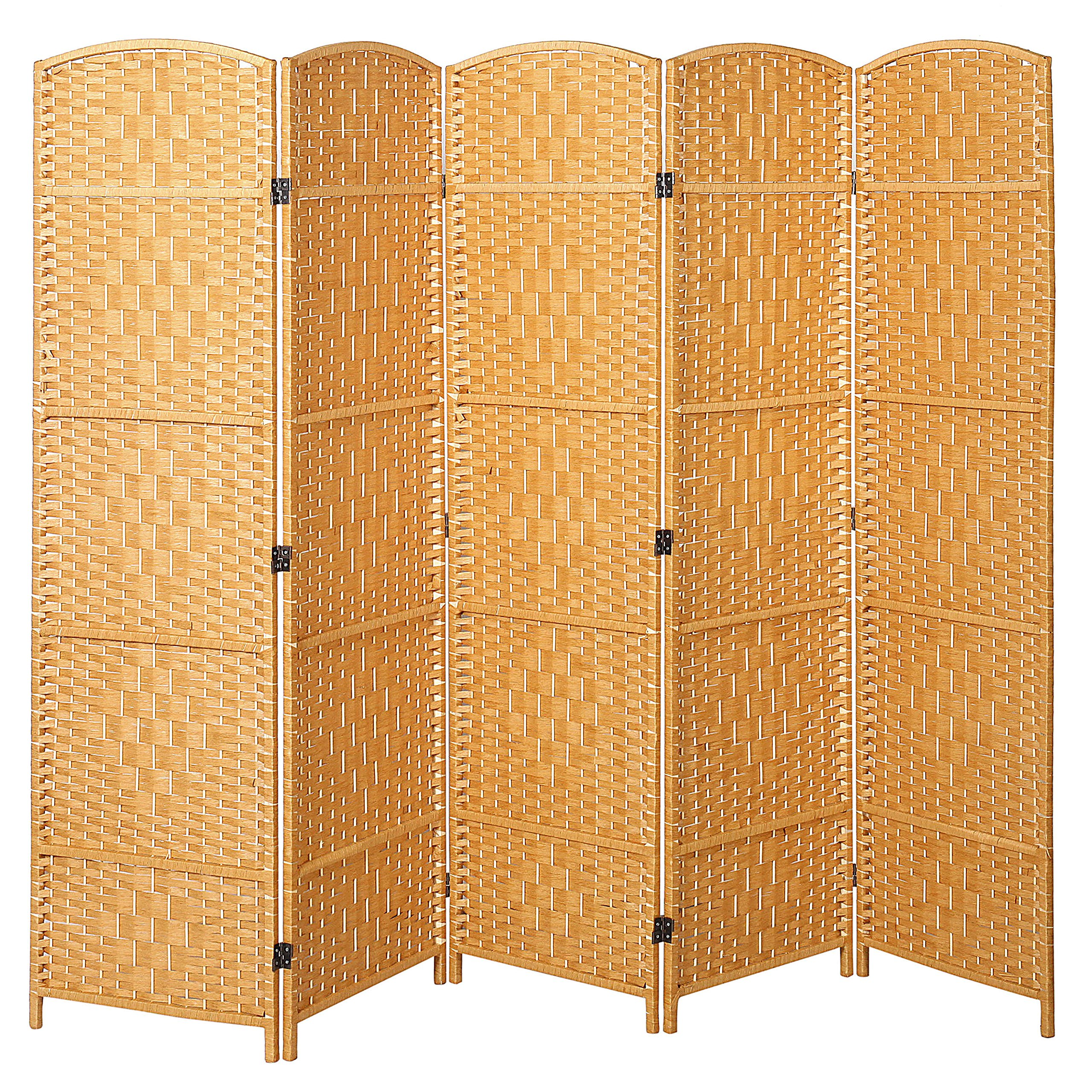 Handwoven Bamboo 5 Panel Partition Semi-Private Room Divider with Dual Hinges, Beige