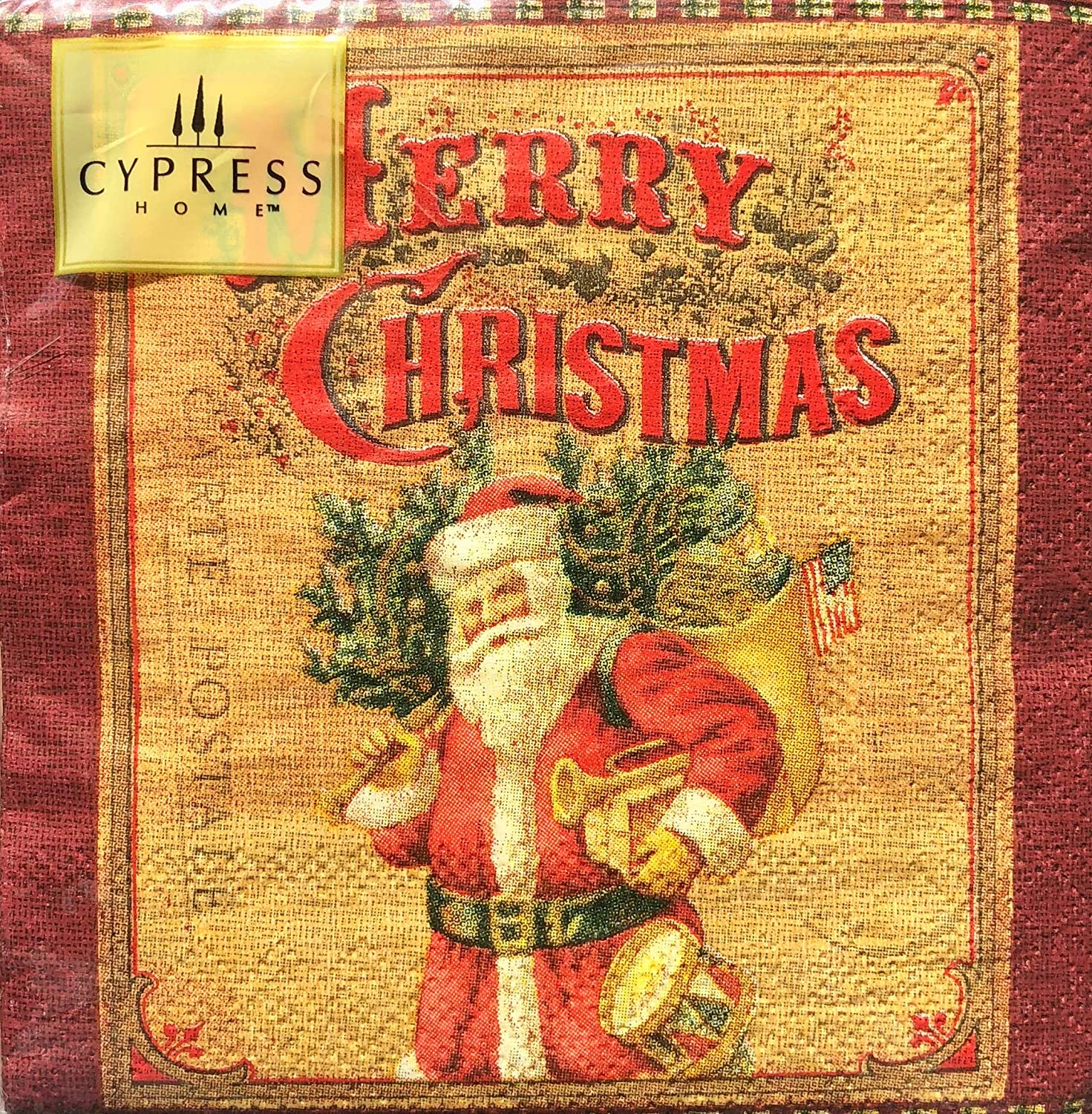 Cypress Home Nostalgic Merry Christmas Cocktail Beverage Paper Napkins, 40 ct
