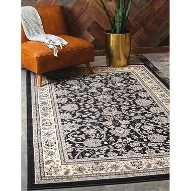 Unique Loom 3119183 Kashan Area Rug, 8' x 10' Rectangle, Black