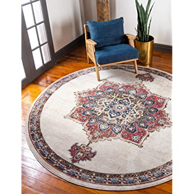 Unique Loom Utopia Collection Traditional Medallion Vintage Warm Tones Cream Round Rug (7' 0 x 7' 0)