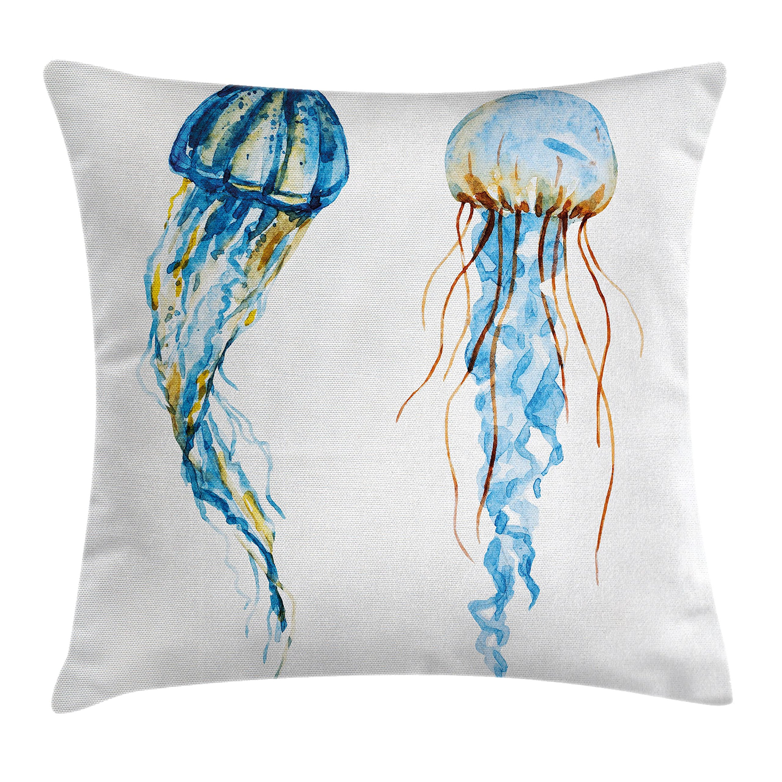 Ambesonne Nautical Decor Throw Pillow Cushion Cover, Cute Jellyfish Exotic Sea Ocean Creature Aquatic Animals Watercolor Raster Graphic, Decorative Square Accent Pillow Case, 24 X 24 Inches, Blue