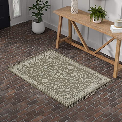 Stone Beam Barnstead Floral Wool Area Rug, 4 x 6 Foot, Charcoal and Beige