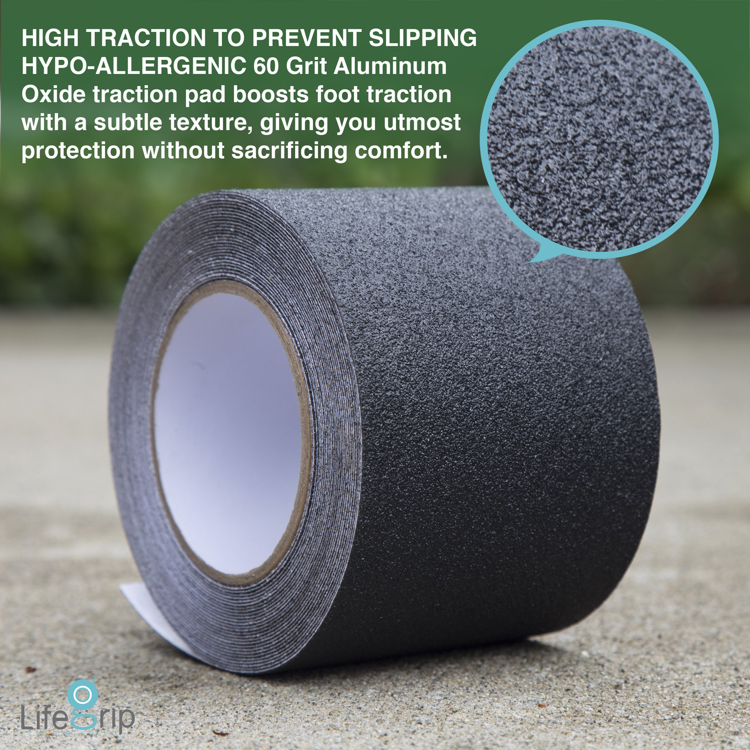 LifeGrip Weather & Water Proof Anti-slip Safety Tape - Black - PET Base Layer - Indoor or Outdoor (4'' x 30')