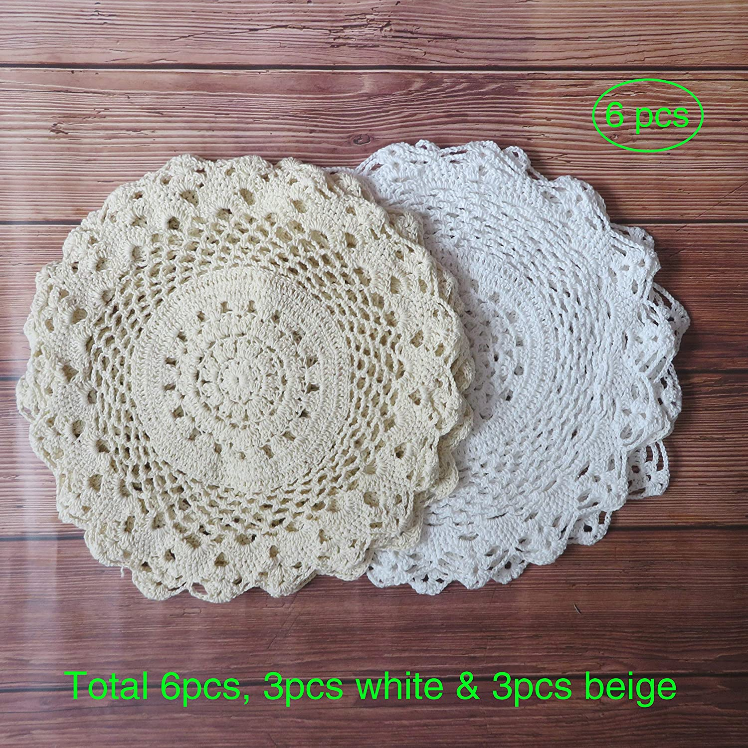 """Ouyatoyu 6pcs 12"""" Doilies Cloth Lace Crochet Doilies Place Mats for Kitchen Round Handmade Cotton Placemats for Glass Bowl Dish Dining Table, 3pcs White and 3pcs Beige"""