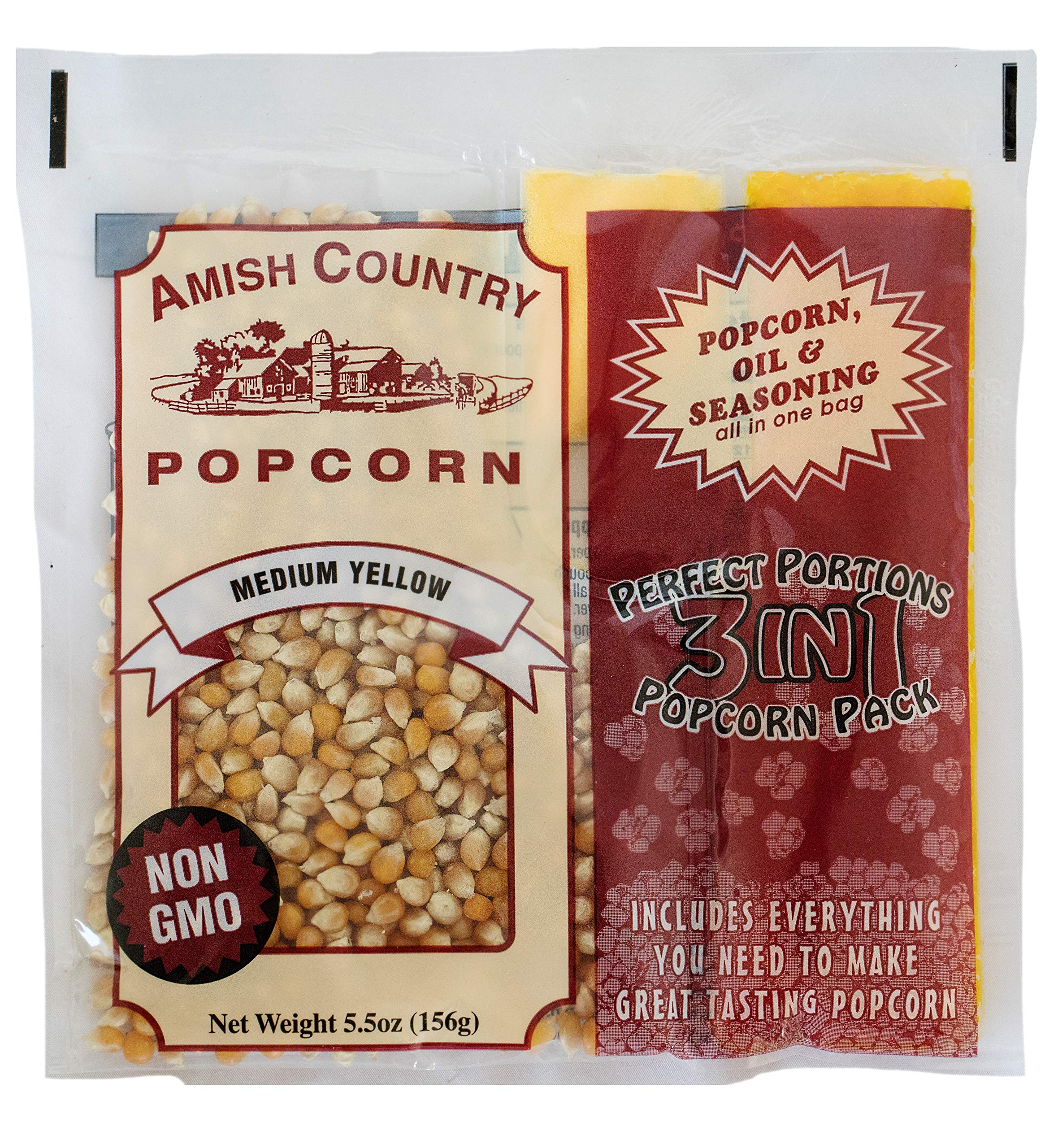 Amish Country Popcorn - (24) 4 Ounce Popcorn Portion Packs of Medium Yellow Popcorn, Oil & Salt - 24 Per Case - Old Fashioned with Recipe Guide by Amish Country Popcorn