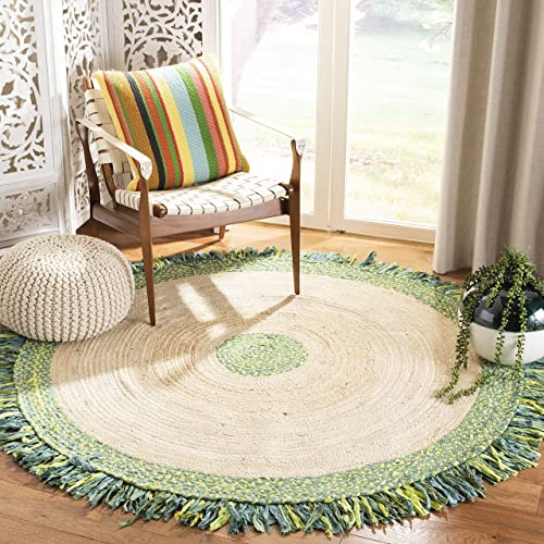 Safavieh Cape Cod Collection CAP212Y Hand-Woven Area Rug, 6 x 6 Round, Green Natural