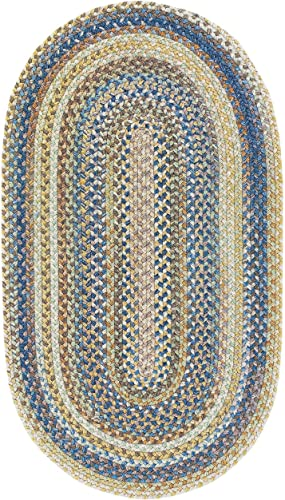 Capel Rugs Kill Devil Hill Oval Braided Area Rug, 11 x 14 , Light Blue
