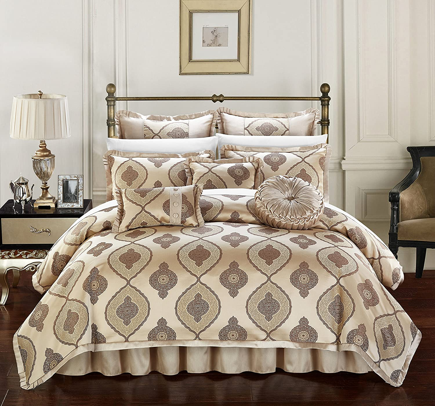 Chic Home Cipriana 9 Piece Comforter Set Jacquard Scroll Faux Silk Bedding with Pleated Flange - Bed Skirt Decorative Pillows Shams Included King Gold