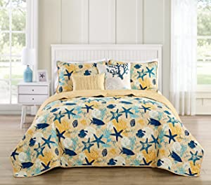 VCNY Home Aquatic 5 Piece Reversible Bedding Quilt Set, King, Blue