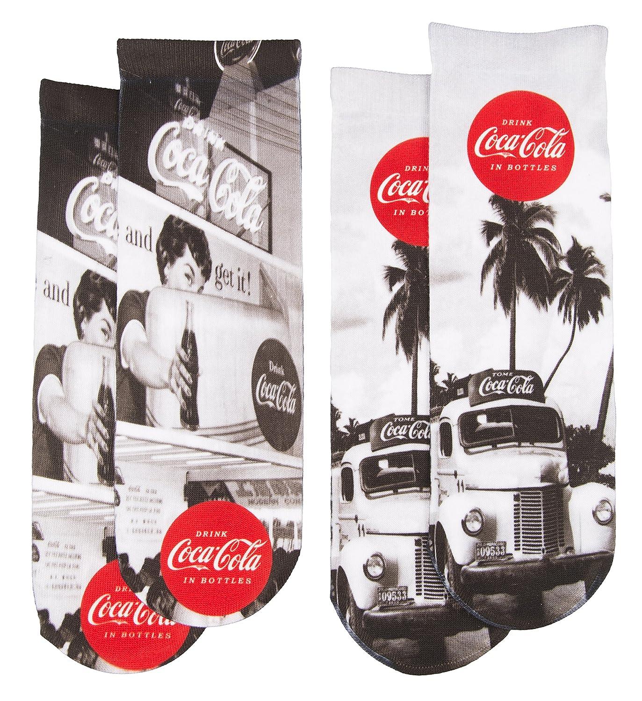 Coca Cola Womens 2 Pair Vintage Printed Socks