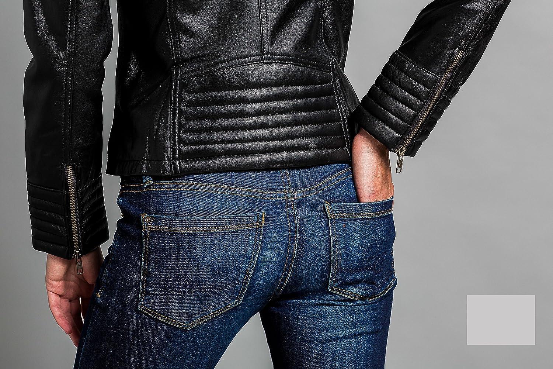 Urban Leather Corto Biker - Chaqueta de piel, Mujer, marrón, 5XL