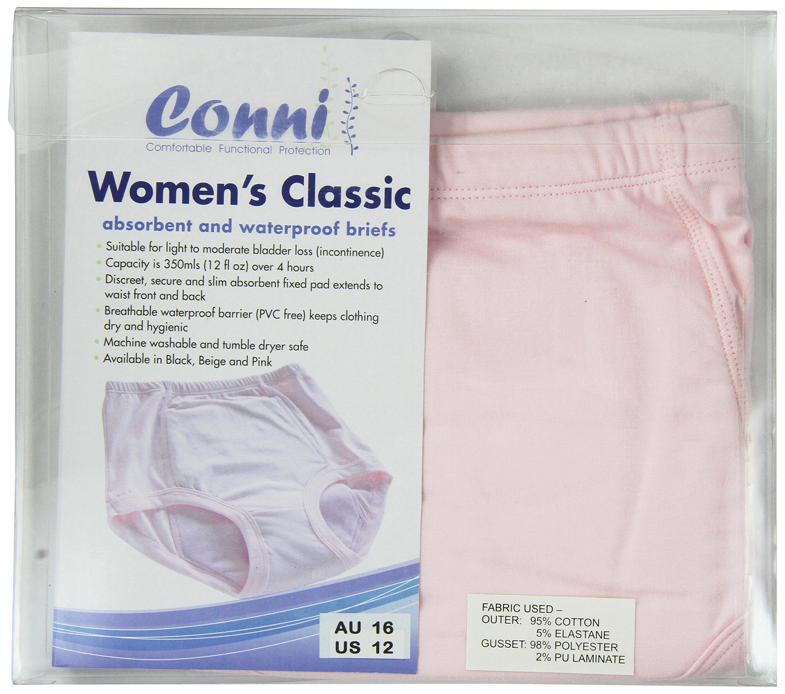 Conni Women's Classic Undergarments, Pink, Size 12 Extra Large, 5 Ounce (Pack of 20)