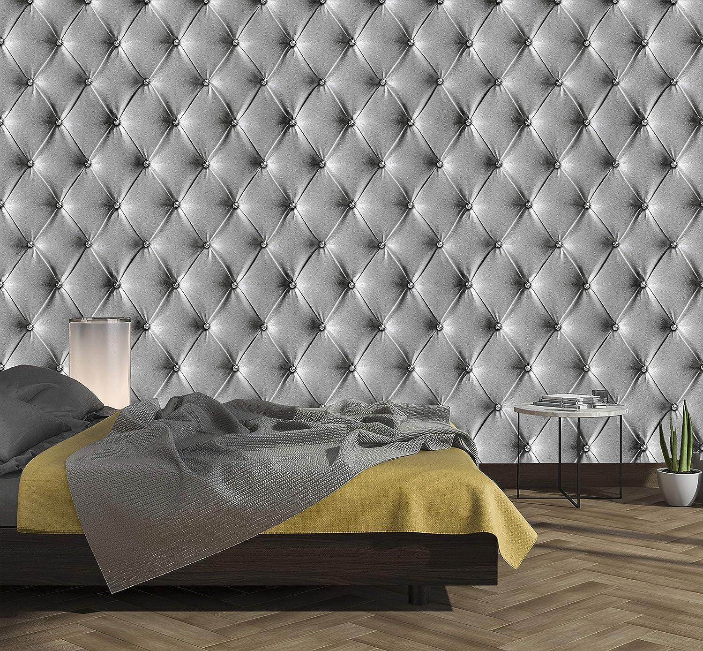 murimage Papel Pintado Cuero Gris 274 x 254 cm Incluye Pegamento Fotomurales imitación de piel lujo óptica 3D diamantes brillo acolchado dormitorio