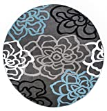 Rugshop Contemporary Modern Floral Flowers Round